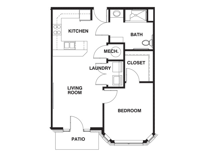 1 Bedroom ADA floor plan